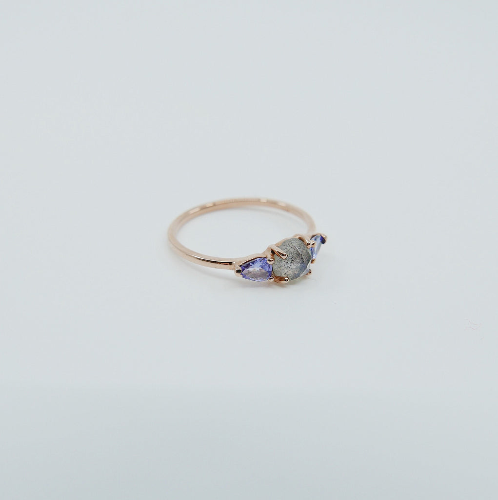 Penelope Rose Cut Labradorite Ring, Labradorite and tanzanite ring, 3 stone ring, 14k gold labradorite ring