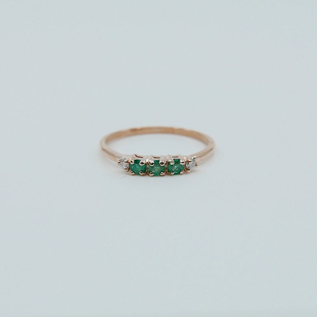 Riley Emerald Ring, 5 stone gold ring, emerald and diamond ring, 14k gold emerald ring, emerald and diamond band