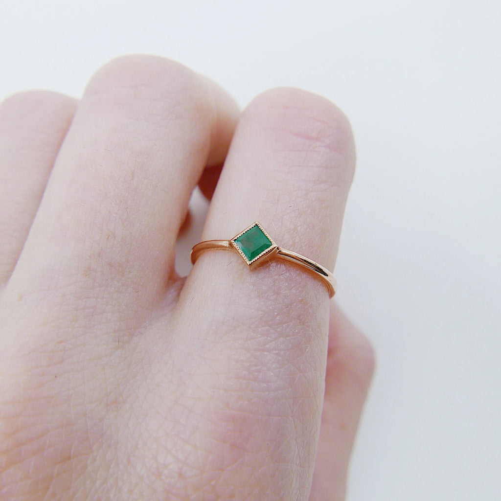 Square Bezel Emerald Ring, green emerald bezel ring, emerald stacking ring, green emerald ring, square emerald ring, gold square band