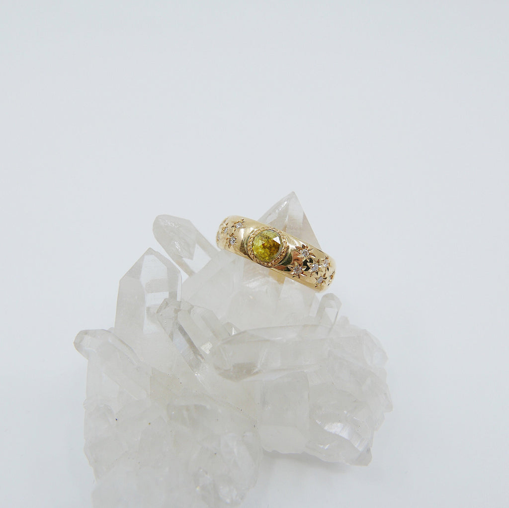 Star Struck Rustic Yellow Diamond Ring, OOAK ring, thick gold band, yellow diamond ring, star ring, diamond thick band ring, rose cut stone