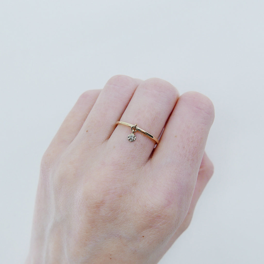 Cha Cha Diamond Charm Ring, Diamond Ring, Birthstone diamond ring, circle ring, charm ring, 14k gold circle ring, gold circle charm ring