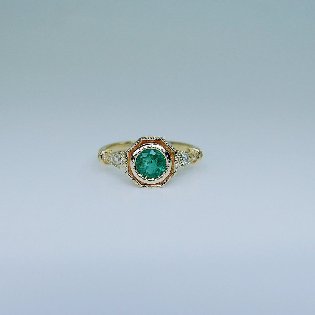 Eloise Bezel Emerald Ring, emerald and diamond ring, 14k gold ring, green stone ring, 14k emerald ring, 14k emerald and diamond ring