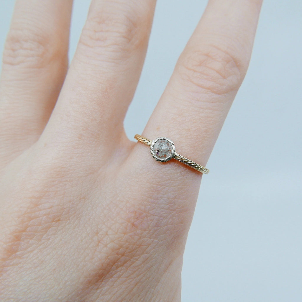 Twist Two Tone Grey Diamond Ring, gold bezel ring, bezel stone ring, 14k gold gray diamond ring, gold twist band, hand engraved