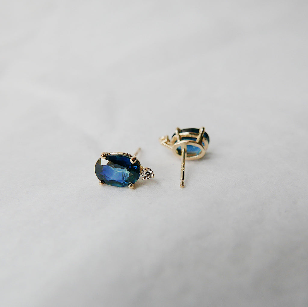 Oval Blue Sapphire & Diamond Earrings, Sapphire Earrings, Diamond Earrings, 14k Gold Stud Earrings, Two Stone Earrings