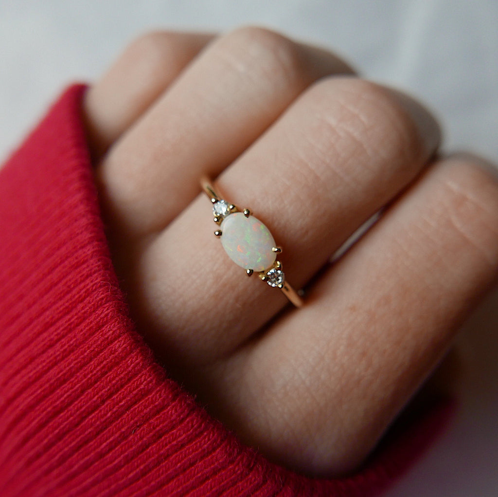 Oval Opal Ring 2.0, three stone ring, oval and diamond ring, 14k gold opal ring, east west ring