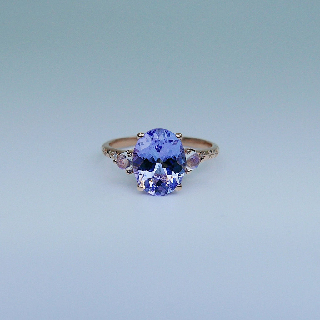 Twilight Tanzanite and Moonstone Ring, three stone ring, moonstone and tanzanite ring, 14k gold ring, diamond band, starry band