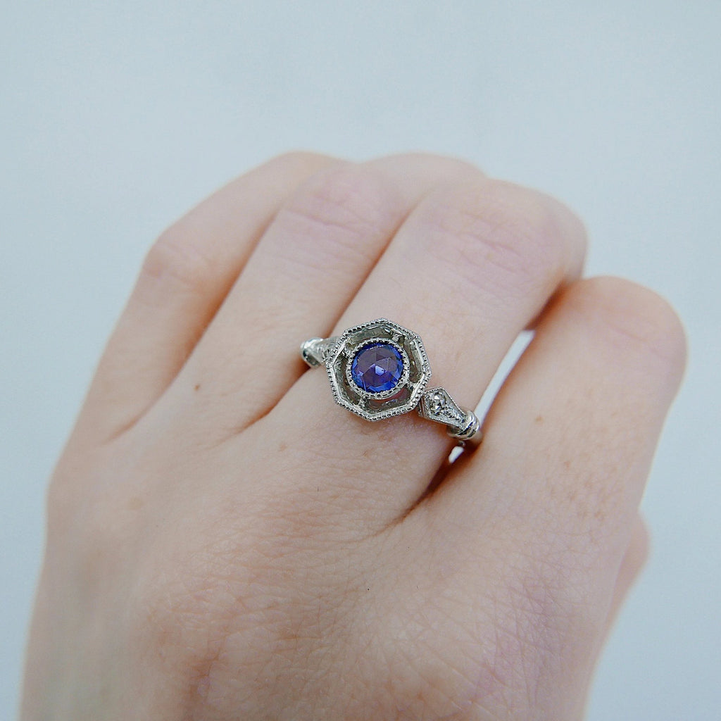 Compass Eloise Rose Cut Blue Sapphire Ring, Platinum ring, vintage inspired ring, sapphire and diamond ring
