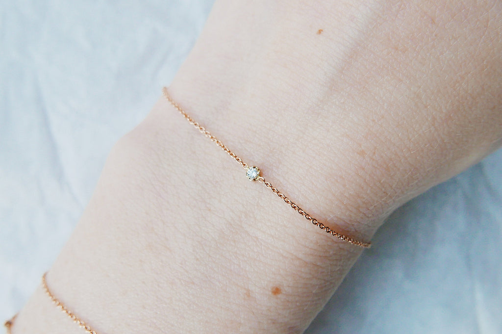Single Diamond Bracelet, Diamond Bracelet, 14k Gold Diamond Bracelet, Gold Diamond Bracelet, Dainty Diamond Bracelet, Dainty 14k Gold