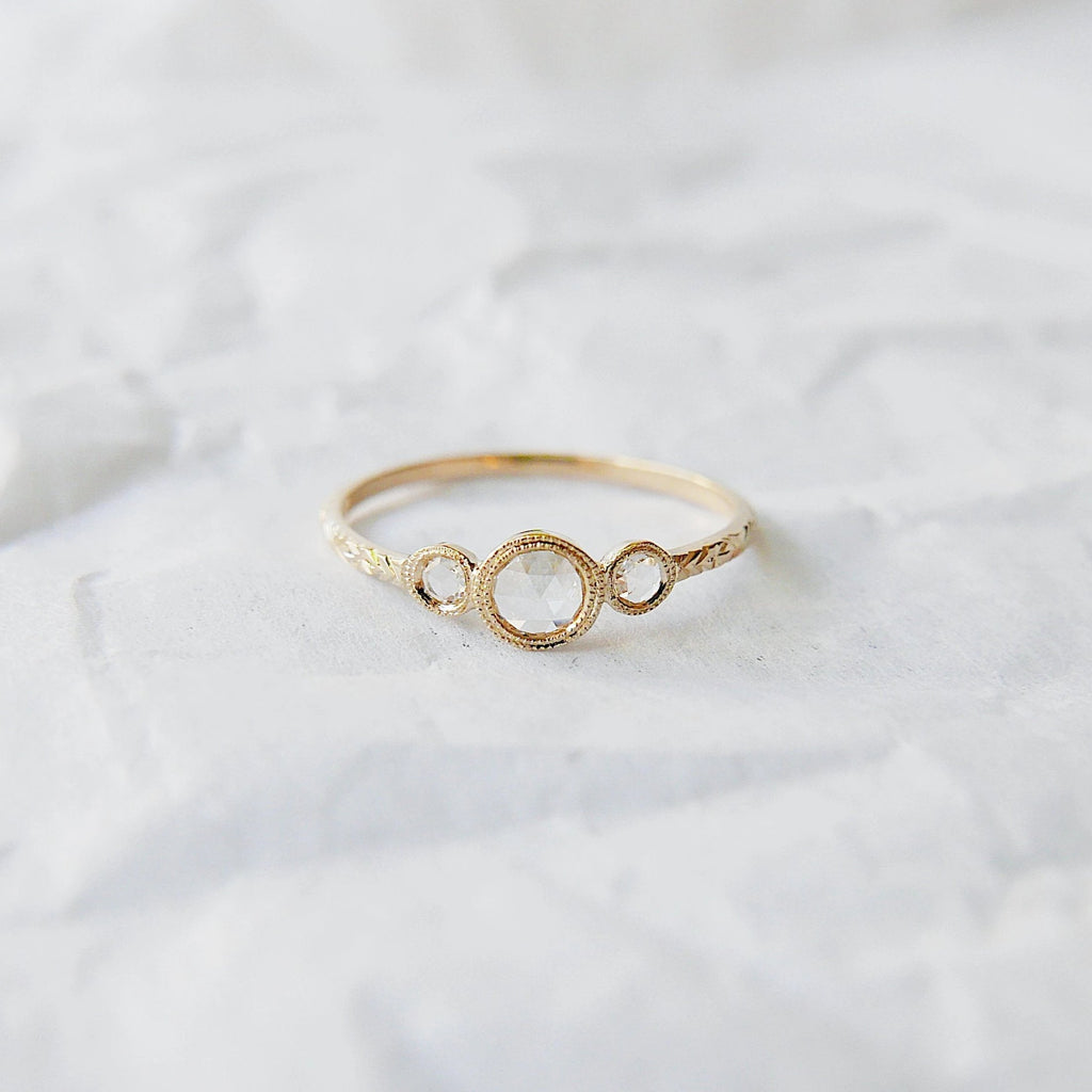 3 Stone Rose Cut Diamond Ring, three stone ring, white diamond ring, 14k gold rose cut diamond ring