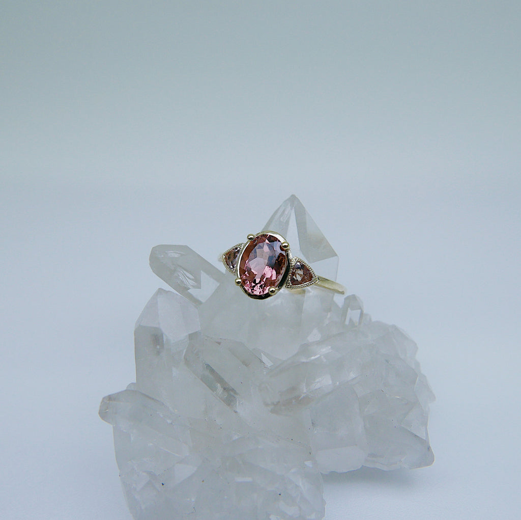Agatha Tourmaline Ring, tourmaline & morganite ring, oval tourmaline ring, morganite ring, pink tourmaline wedding ring