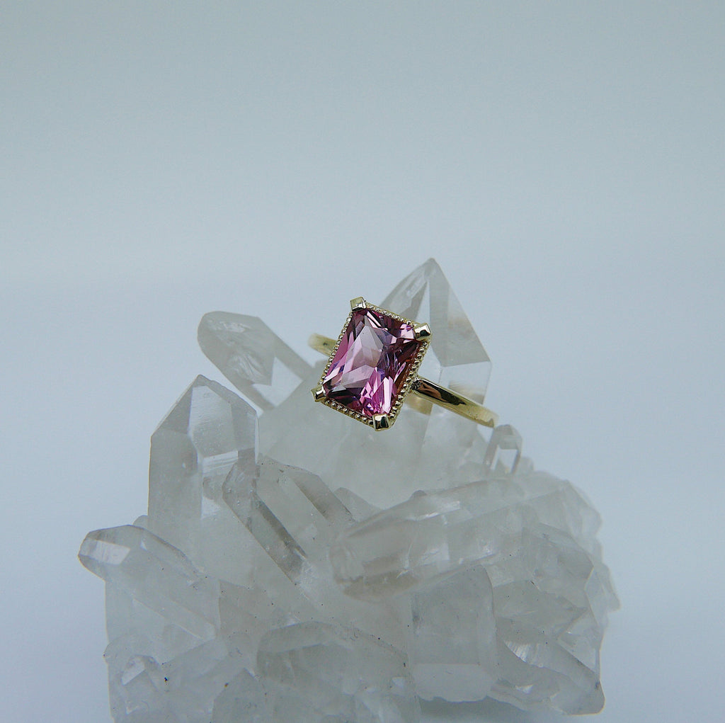 Carolina Tourmaline Ring, Pink tourmaline ring, tourmaline ring, pink wedding ring, statement pink engagement ring