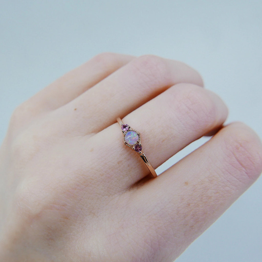 Harlow Opal Ring, pink tourmaline ring, opal and tourmaline ring, 14k gold opal ring, 3 stone opal ring