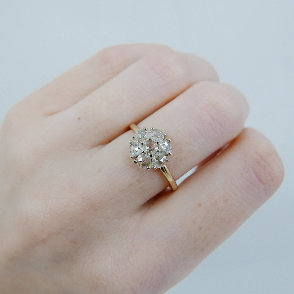 Flower Power Two Tone Diamond Ring, rose cut diamond engagement ring, alternative engagement, diamond birthstone, two tone cluster ring