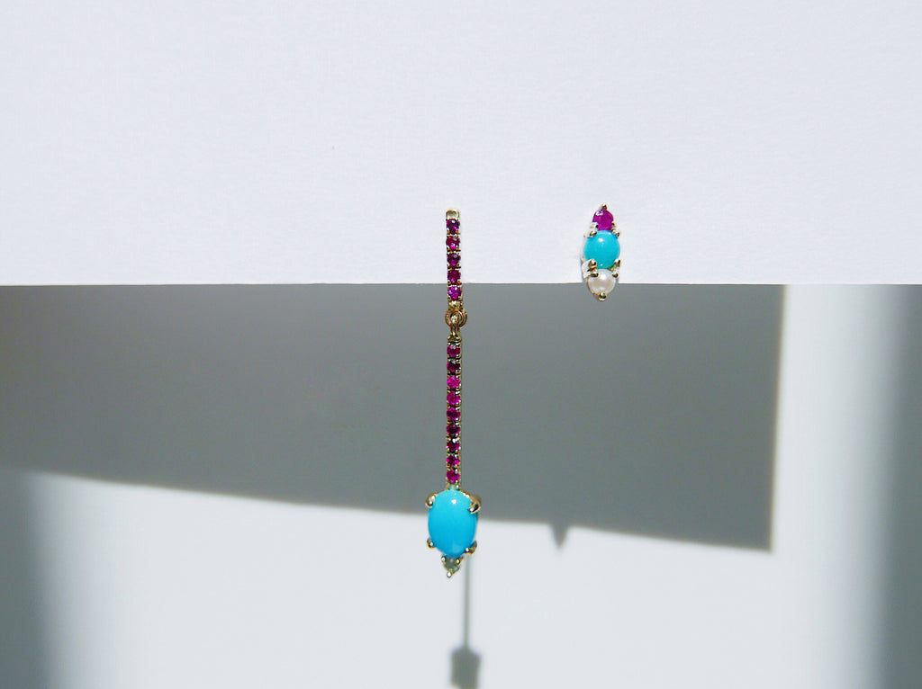 Trio Turquoise Earring, Ruby and Pearl Earring, Turquoise Earring, Mini Turquoise Earrings, three stone earring