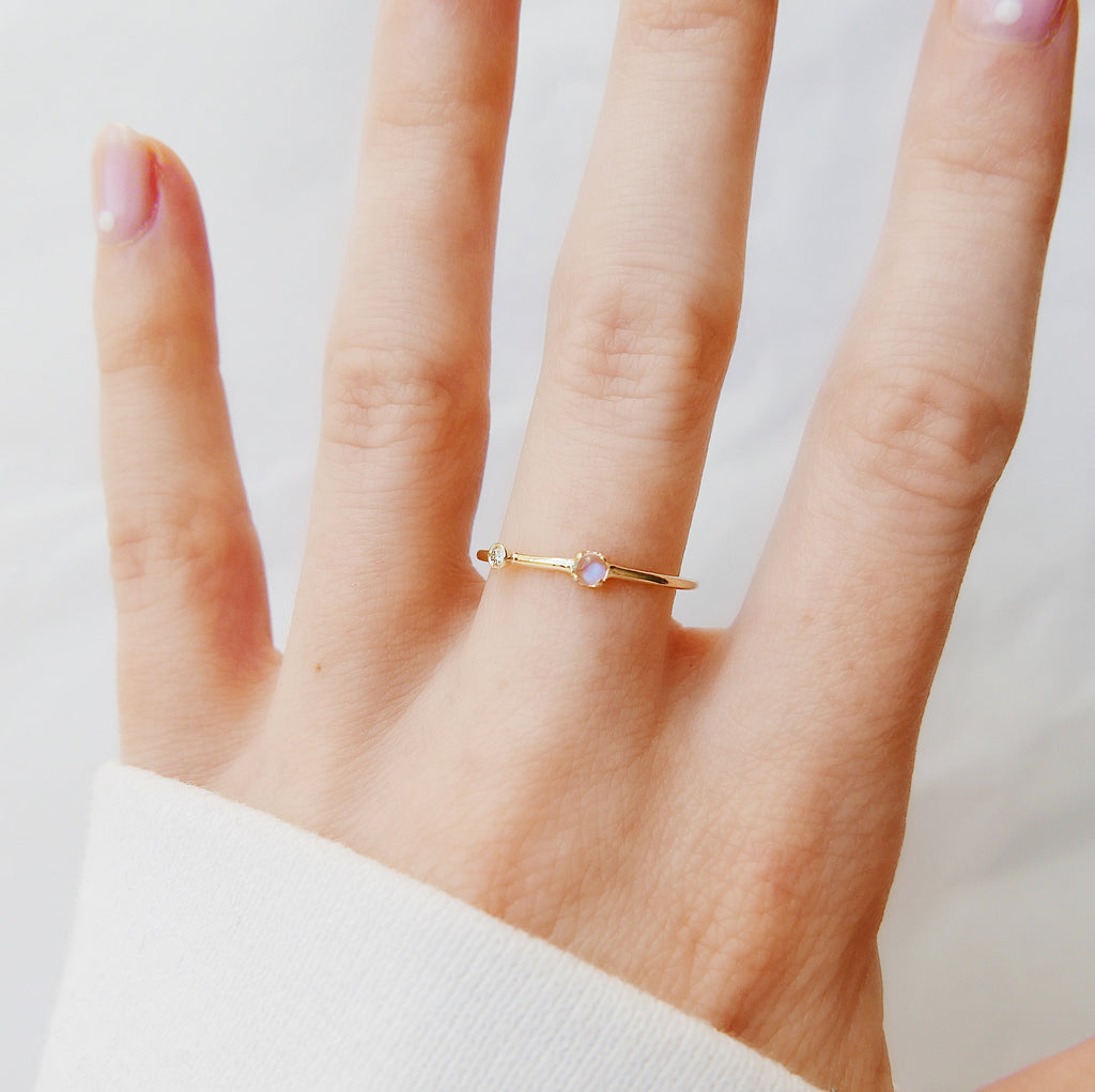 Moonstone Duet Ring (Small), 14k Diamond and moonstone Ring, Mini moonstone Ring, Stacking Bands, Stacking Rings, 14k Gold Band