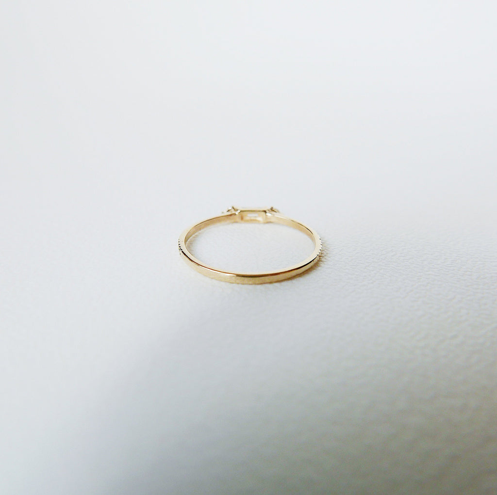 Grand Baguette Champagne Diamond Ring, 14k Stacking diamond baguette ring, Three stone ring, diamond stacking ring