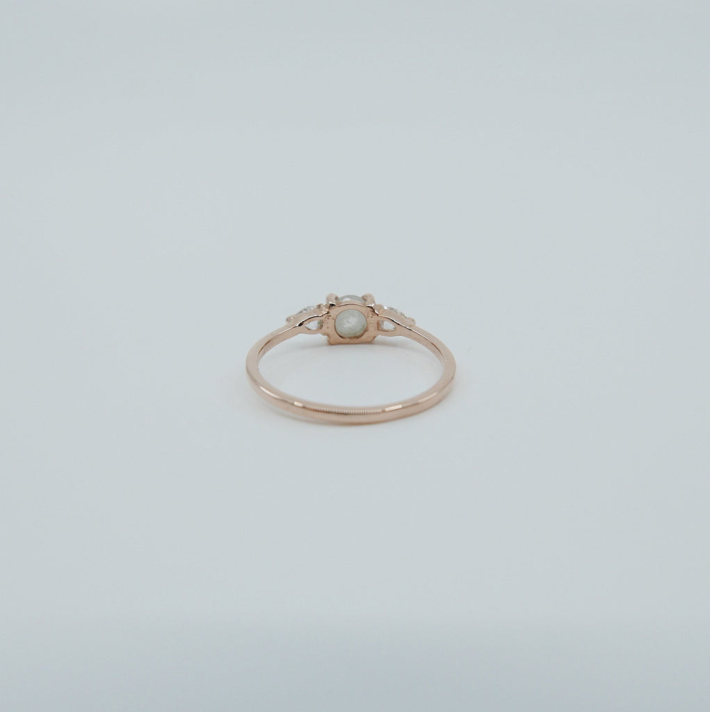 Penelope Rustic Diamond Ring, one of a kind rustic diamond ring, 3 stone ring, 14k gold diamond ring, rose cut diamond ring
