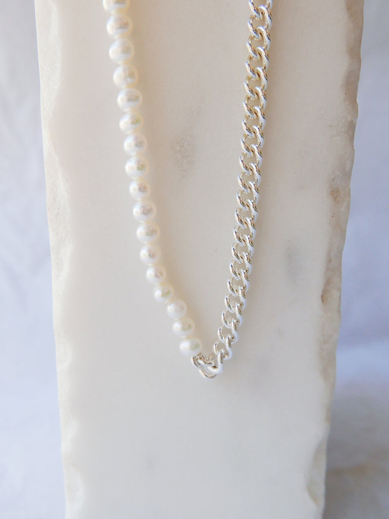 Small Split Personality Curb Chain Choker, pearl and chain Toggle Choker, sterling silver curb chain and pearl choker, heavy chain choker