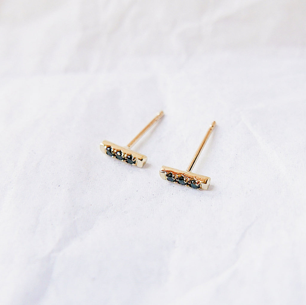 Mini Black Diamond Bar Earrings, 14k Black Diamond bar Earrings, 3 Diamond earrings, mini gold bar Earrings, small black Diamond Earrings