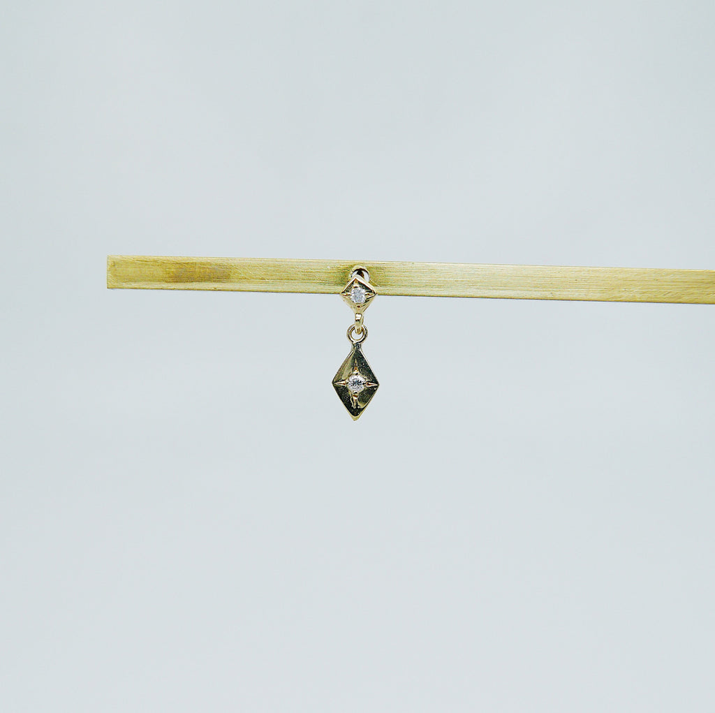 Sway With Me Earring, Diamond Charm Earring, Kite Earring, Diamond Earring, Double Diamond Earring