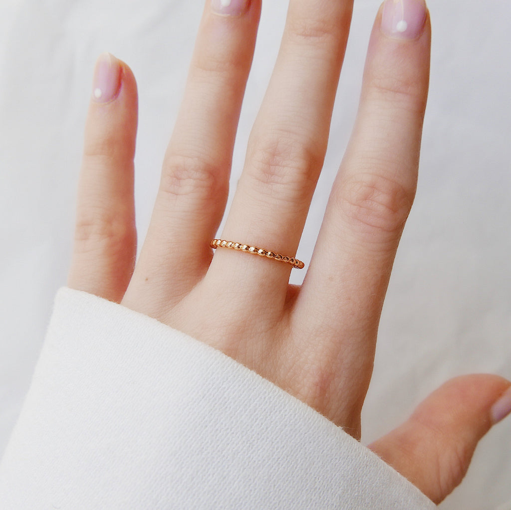 Beaded Ball Ring, 14k Beaded ring, 14k beaded ball ring, Gold Chain Ring, Chain Ring, Ball Chain Ring, fluidity ring