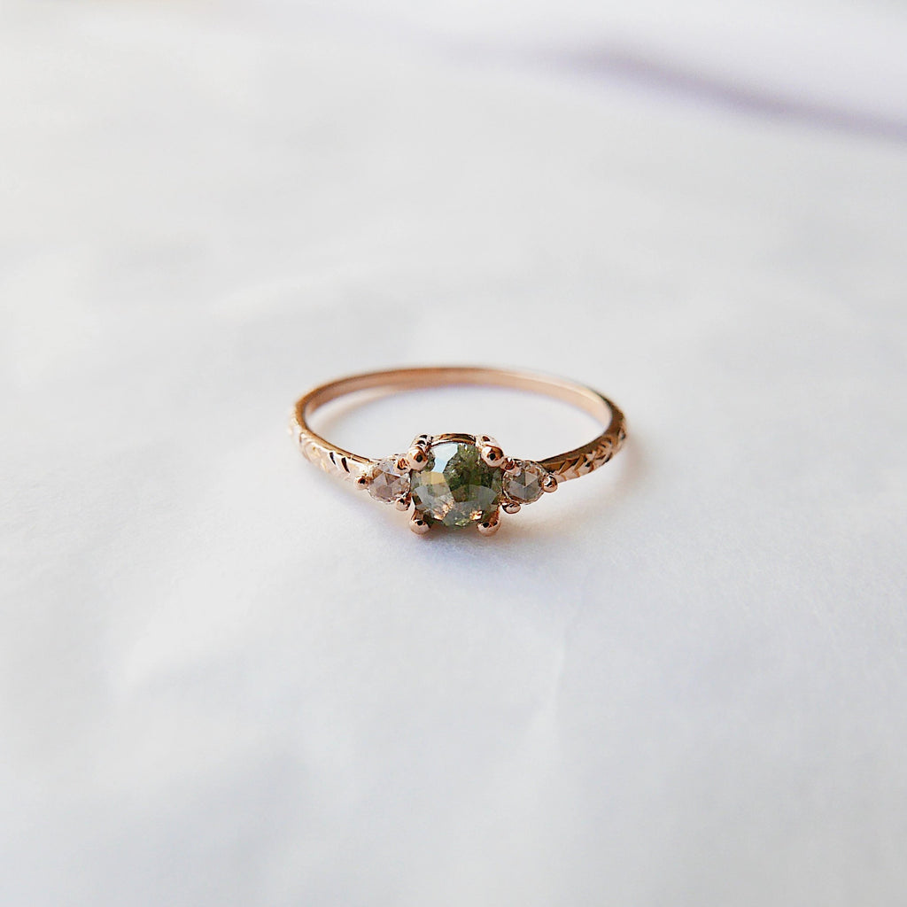 Penny Rustic Diamond Engraved Band Ring, alternative wedding ring, unique non traditional engagement ring, raw diamond ring