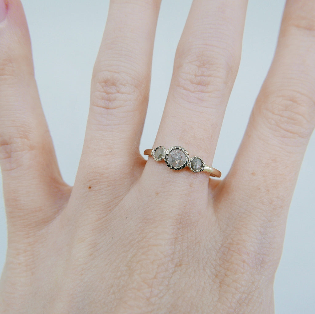 Triple Twist Rustic Two Tone Diamond Ring, gold bezel ring, bezel stone ring, 14k gold gray diamond ring, gold twist band