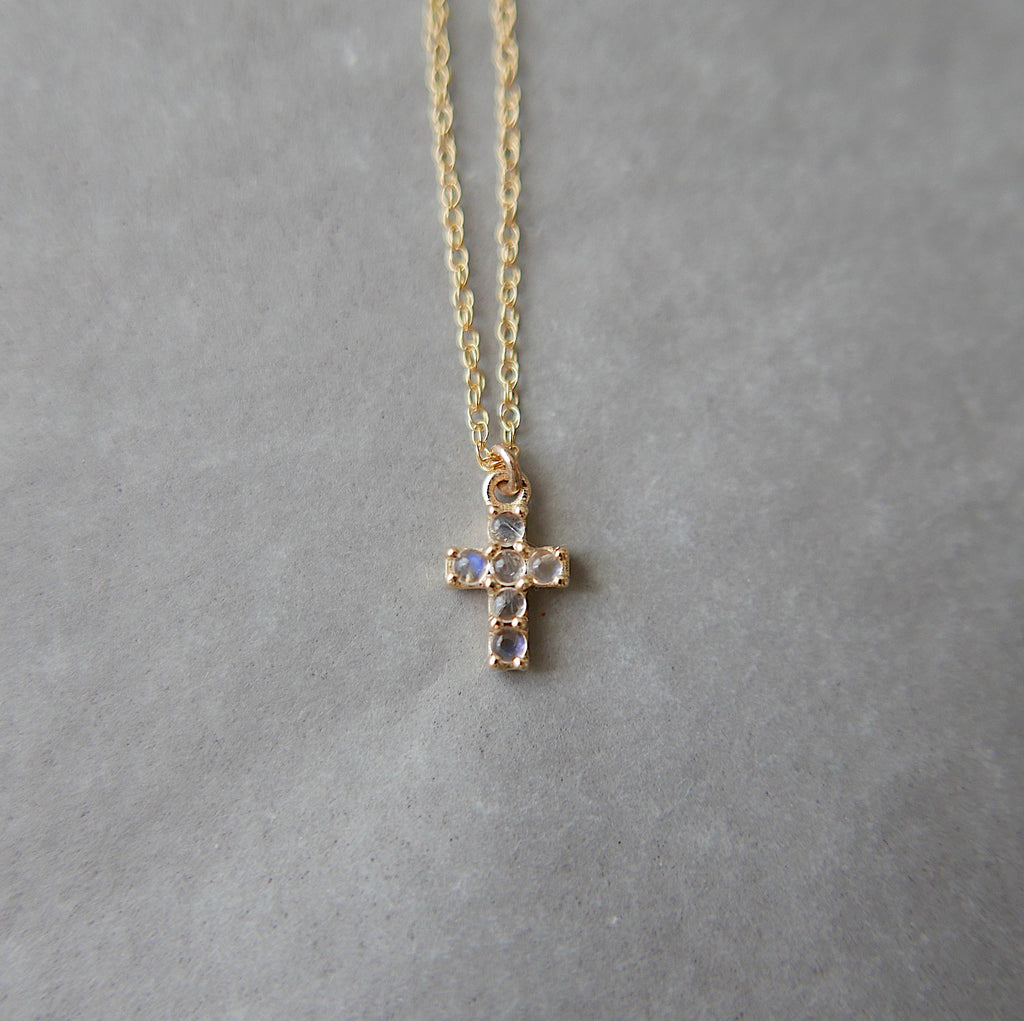 Cross Moonstone Necklace, 14k Gold Crucifix necklace, Small 14k cross necklace, moonstone cross, Dainty gold cross necklace