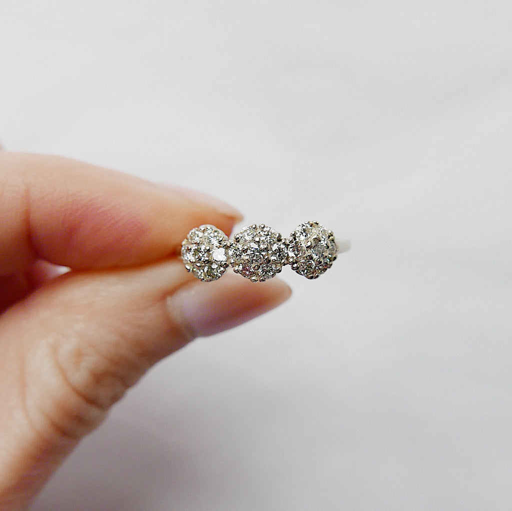 Three Graces Diamond Ring, brilliant cut diamond ring, alternative engagement, diamond birthstone, diamond cluster ring, three graces ring
