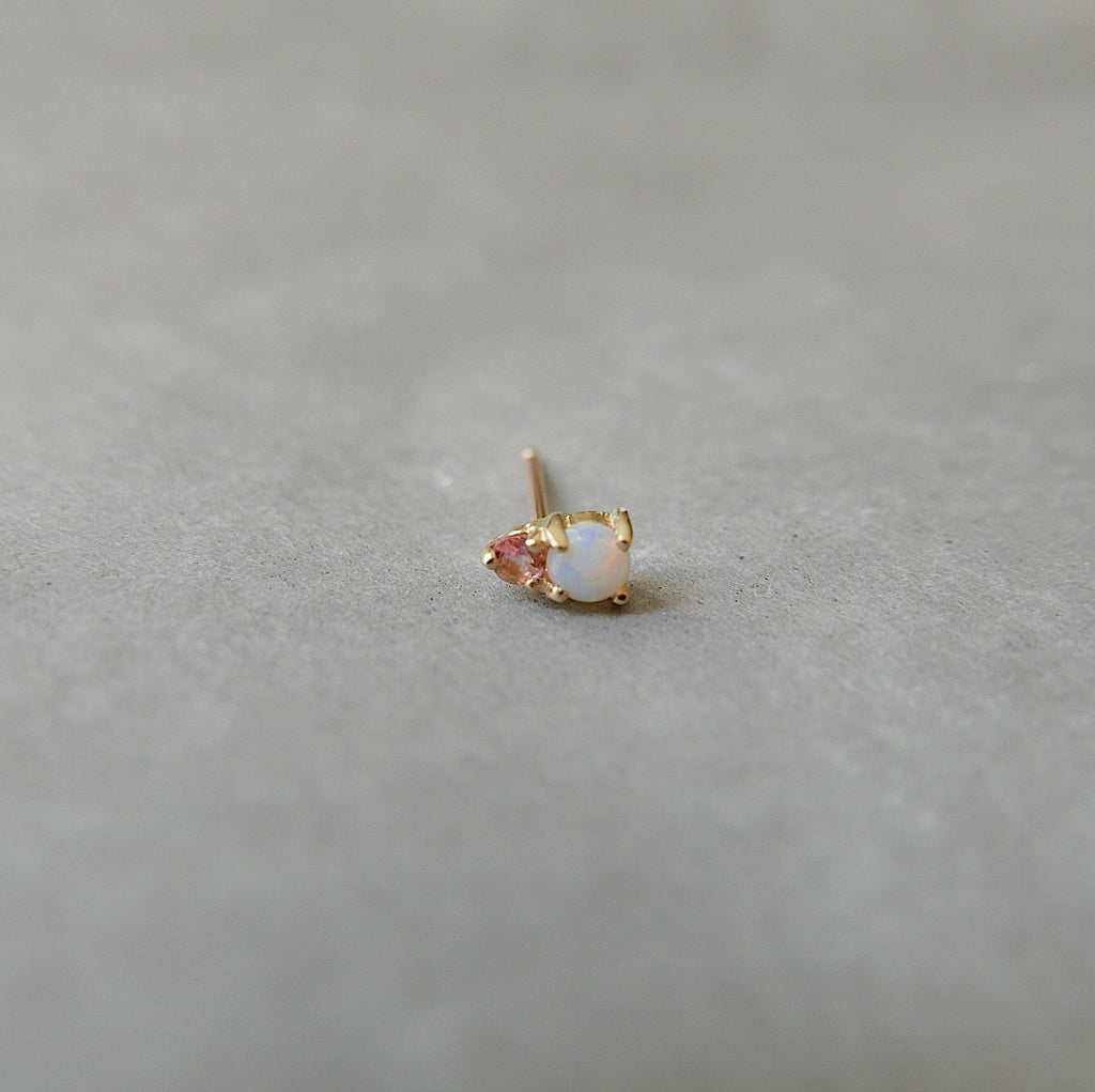 Duo Opal and Pink Tourmaline Stud Earring, Opal and Tourmaline Post, Mini Opal and Tourmaline Earrings
