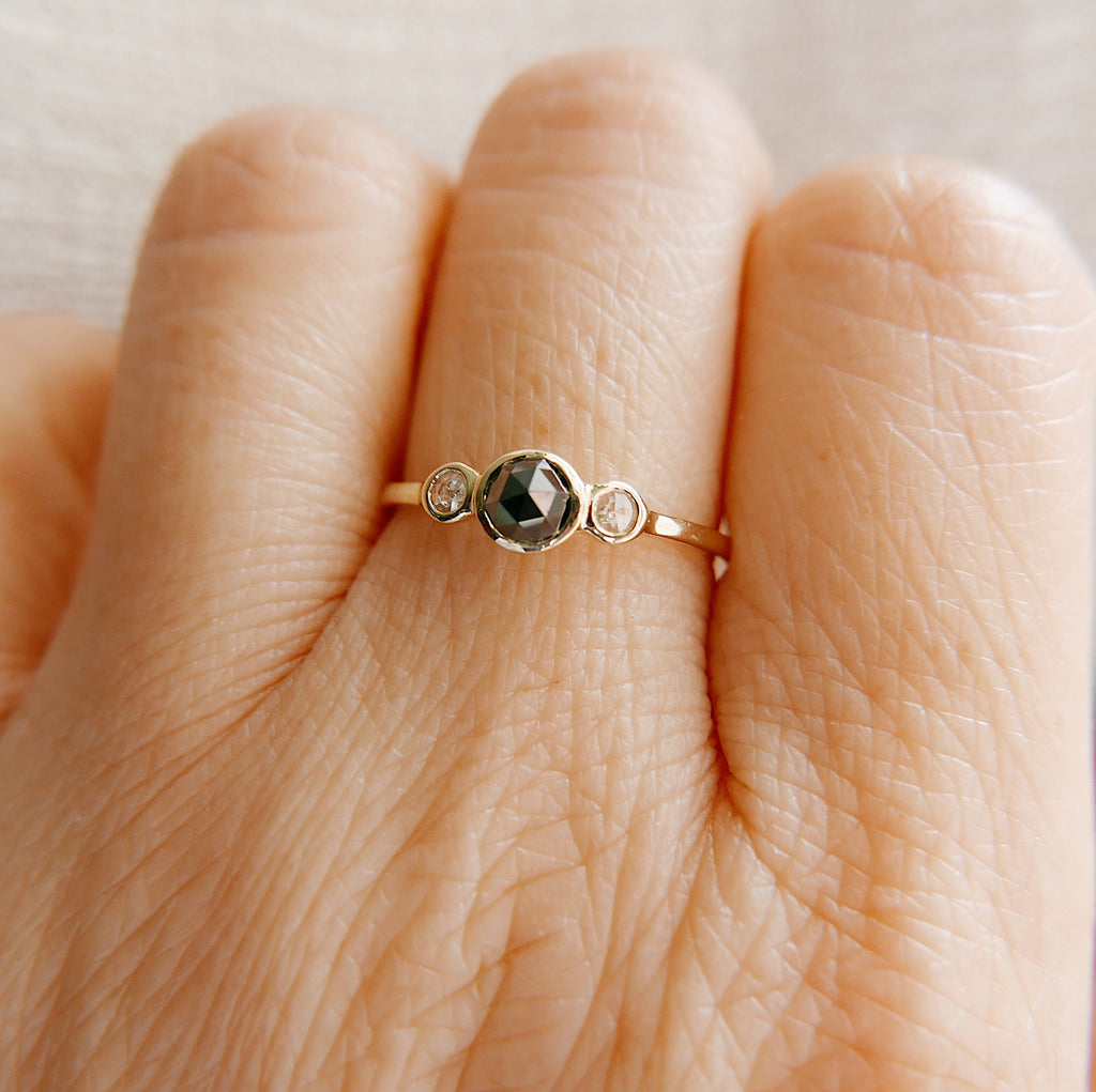 3 Stone Rose Cut Diamond Ring, three stone ring, black rose cut diamond ring, gold black diamond band, dainty three stone ring