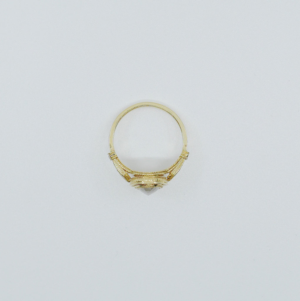 Hazel Rose Cut Grey Diamond Ring, OOAK, 18k Yellow Gold Ring, unique engagement ring, diamond ring, 18k gold diamond ring