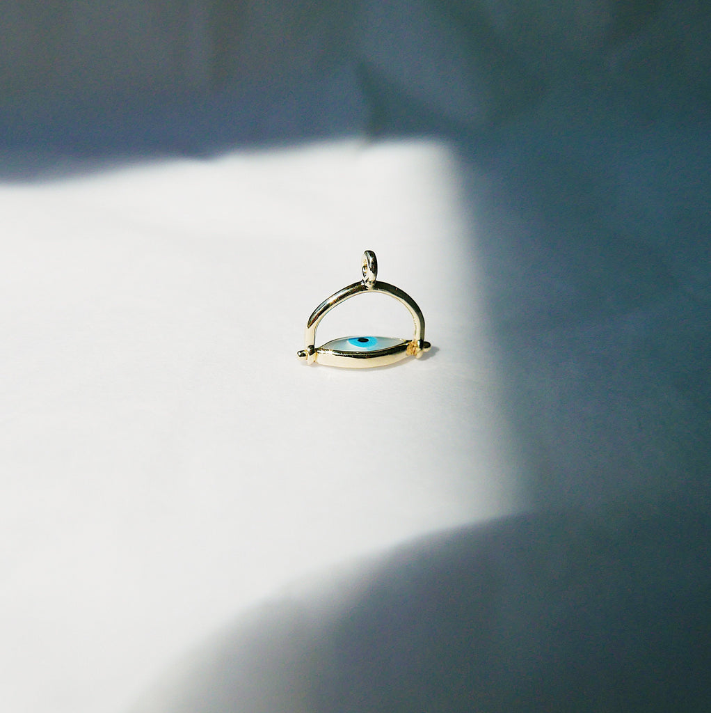 Eye Roll Charm, Eye Roll Necklace Charm, Eye Roll Necklace, mother of pearl pendant, spinning charm, third eye necklace, Protect me necklace