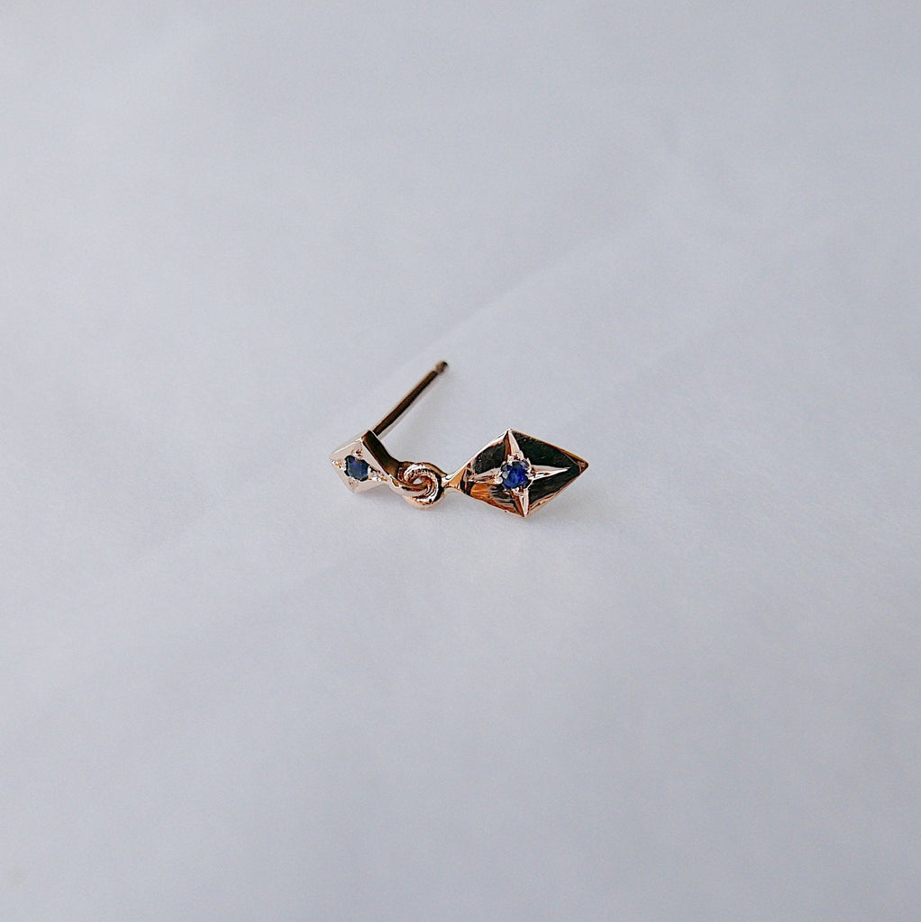 Sway With Me Earring, Blue Sapphire Charm Earring, Kite Earring, Sapphire Earring, Double Sapphire Earring
