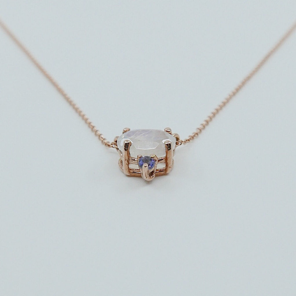Nyla Moonstone Tanzanite Necklace, Oval moonstone and tanzanite necklace, two stone pendant necklace, prong set necklace