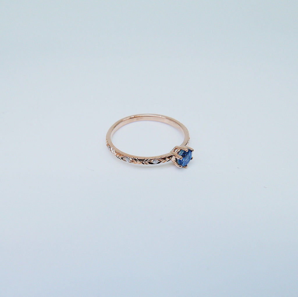 Claire Blue Sapphire Ring, Blue Sapphire Diamond Ring, diamond ring, sapphire ring, engagement ring, gold band, diamond band