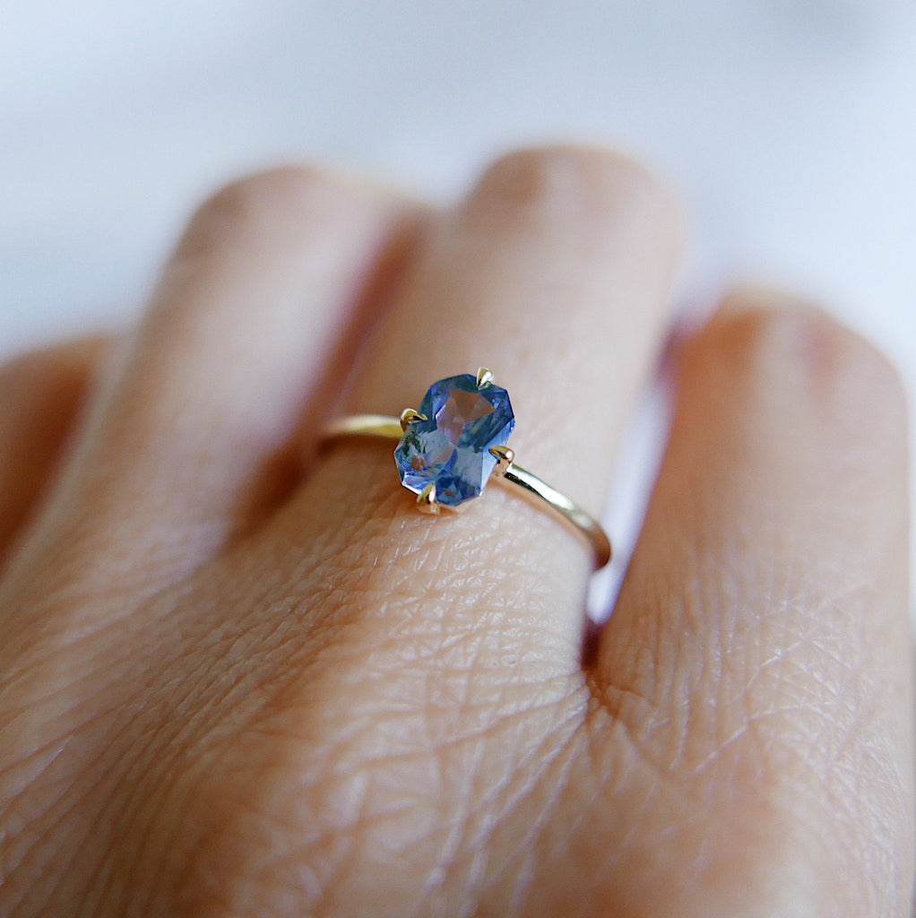 Radiant Cut Sapphire Ring, OOAK, blue sapphire ring, sapphire ring, blue wedding ring, statement blue stone engagement ring