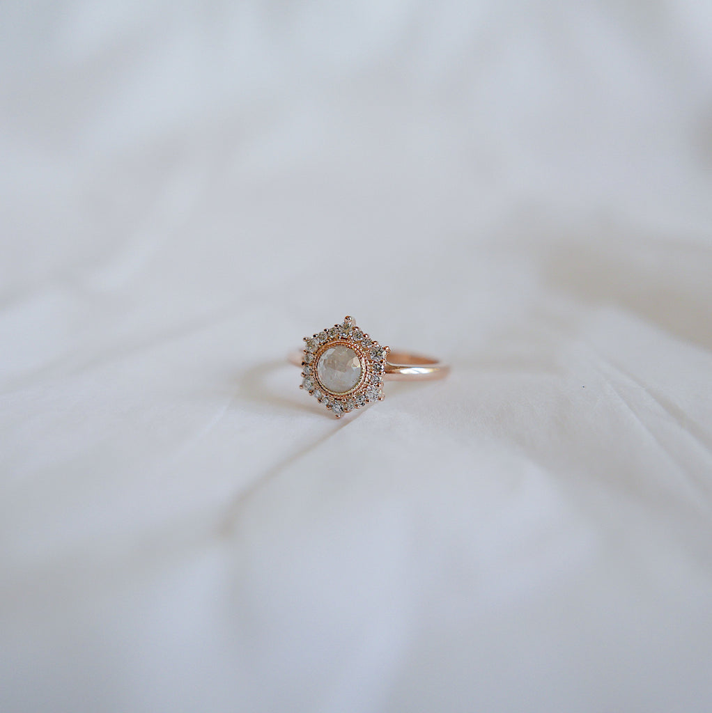 Eloise Rustic Hexagon Halo Ring, One of a Kind Ring, 14k rose gold ring, vintage inspired ring, rustic diamond ring, OOAK, statement ring