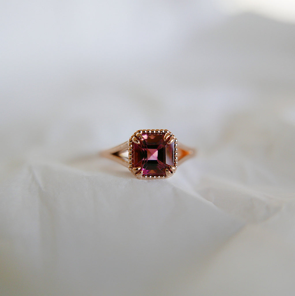 Square Raspberry Tourmaline Ring, OOAK, Raspberry tourmaline ring, tourmaline ring, raspberry wedding ring, statement engagement ring