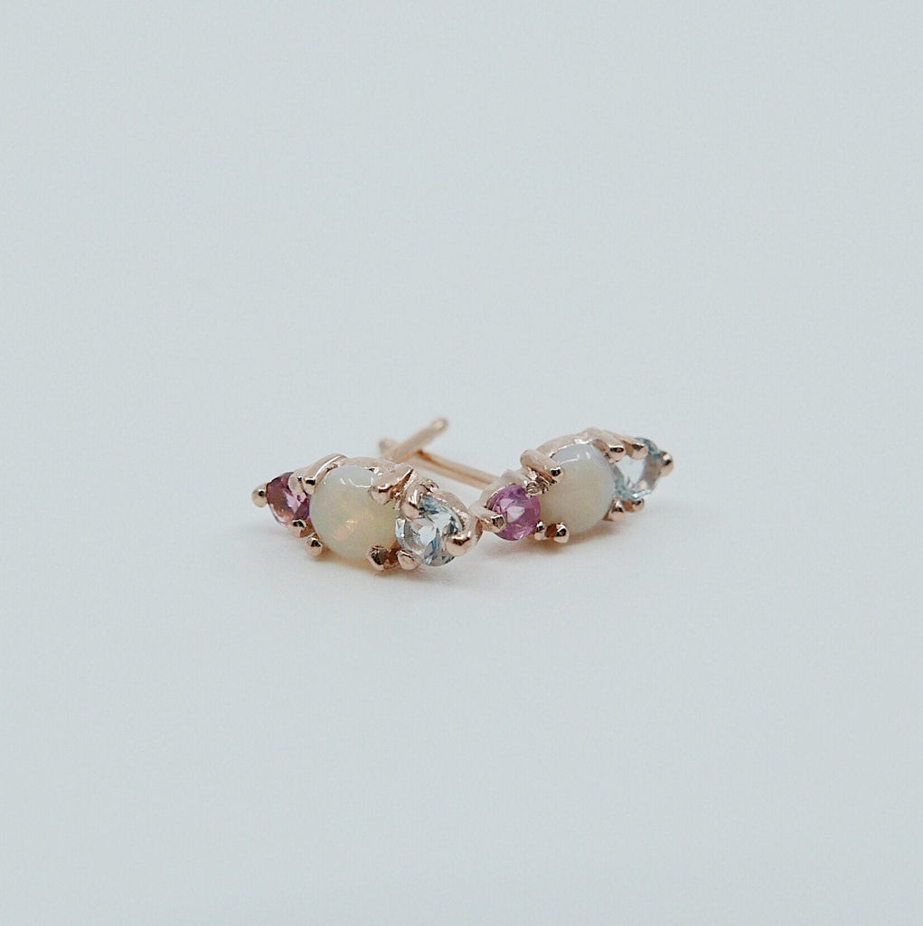 Trio Opal Earring, Aquamarine and Pink Sapphire Post, Mini Opal Earrings, three stone earring