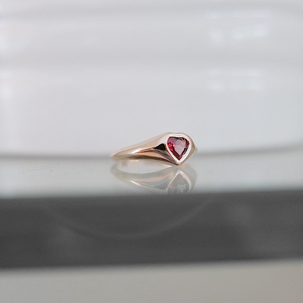 Heart Signet Pinky Ring, 14k gold pinky ring, tourmaline heart ring, pinky ring, signet ring, tourmaline pinky ring
