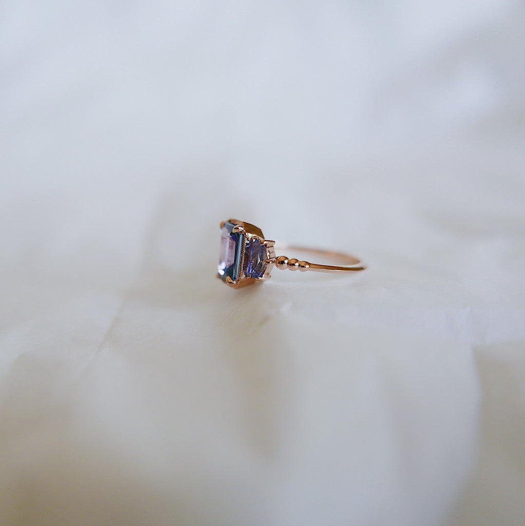 Tanzanite Ring, OOAK, three stone ring, 14k gold tanzanite ring, 14k gold ring, hand engraved band, one of a kind ring