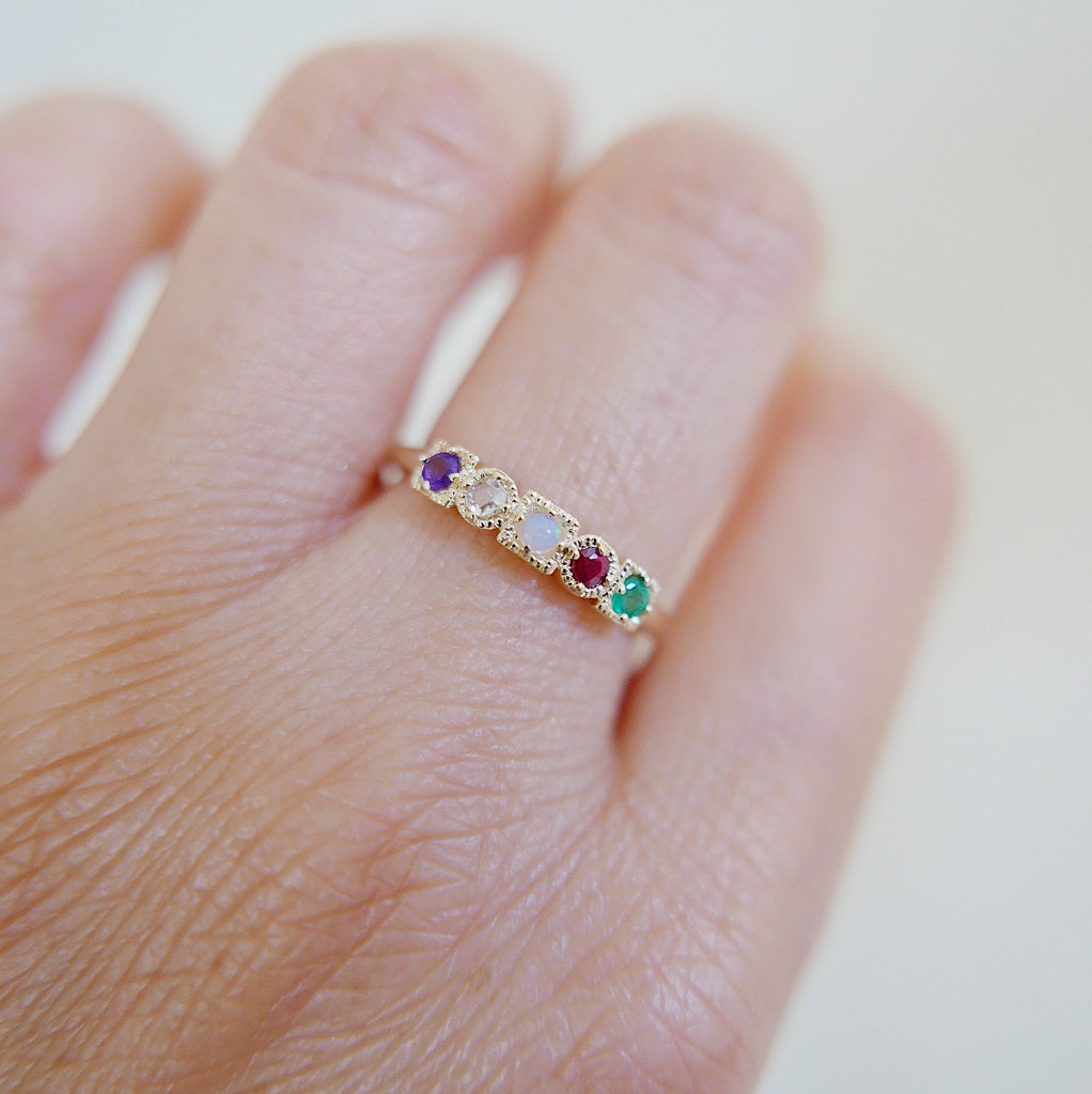 ADORE Acrostic Ring, 14k Stacking ring, Amethyst, Diamond, Opal, Ruby and Emerald ring, Five stone ring, acrostic ring
