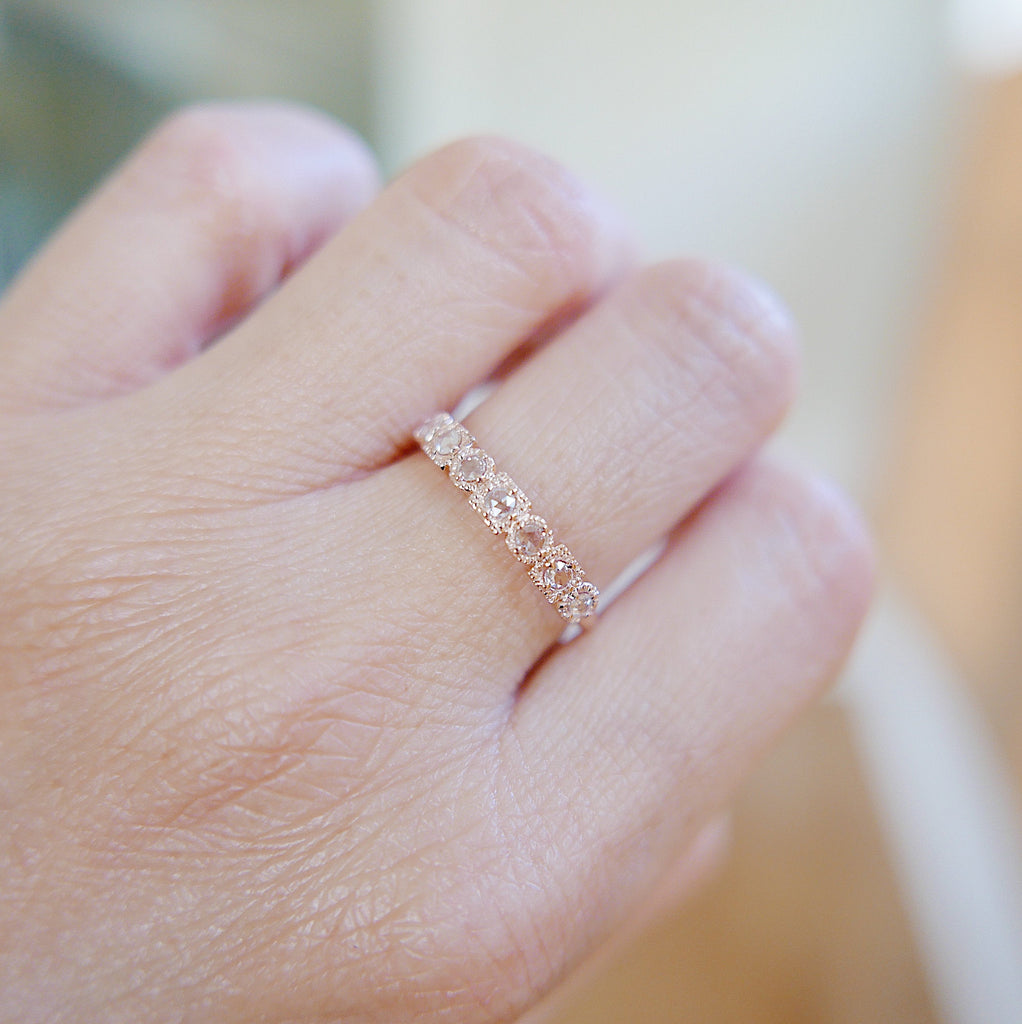 Rose Cut Diamond Ring, 14k Gold Stacking ring, Rose Cut Diamond ring, seven stone ring, Diamond Bar ring, Vintage Inspired ring, 7 diamonds