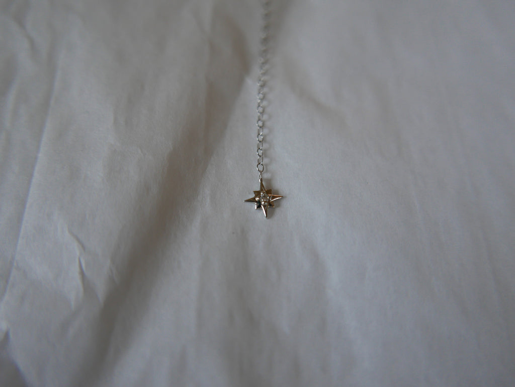 14k white gold star lariat, diamond lariat, white gold y necklace with star charm