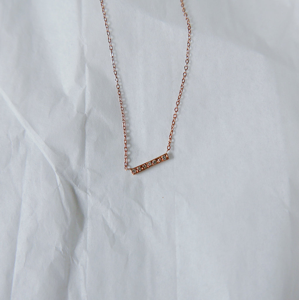 Rose Gold Diamond Bar Necklace, Diamond Necklace, Bar Necklace, 14k Gold diamond necklace