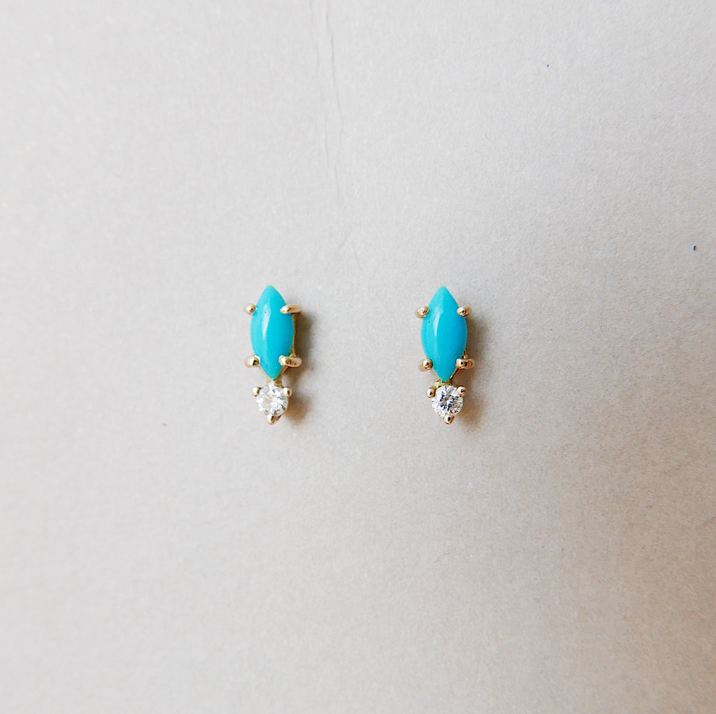 Marquise turquoise and diamond earring, two stone earring, turquoise and diamond stud, 14k gold turquoise stud