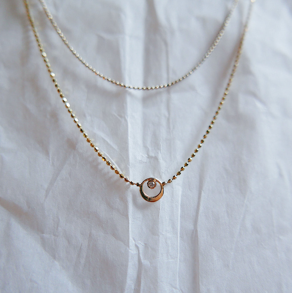 Topsy Turvy Double Chain Necklace, circle necklace, diamond necklace, sapphire necklace, ruby necklace, balance necklace