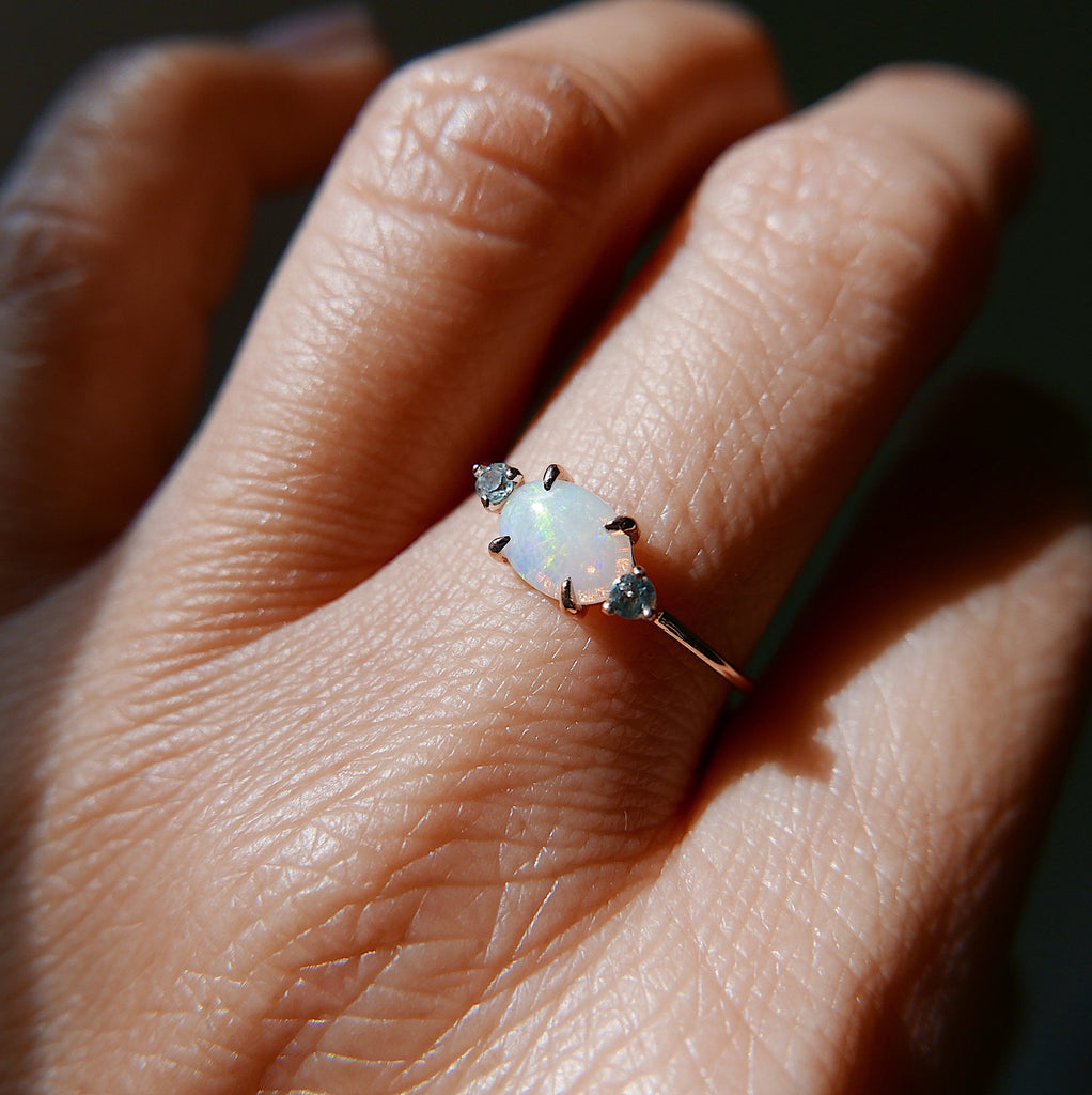 Oval opal ring, three stone ring, opal and aquamarine ring, 14k gold opal ring,stacking ring, Flash SALE