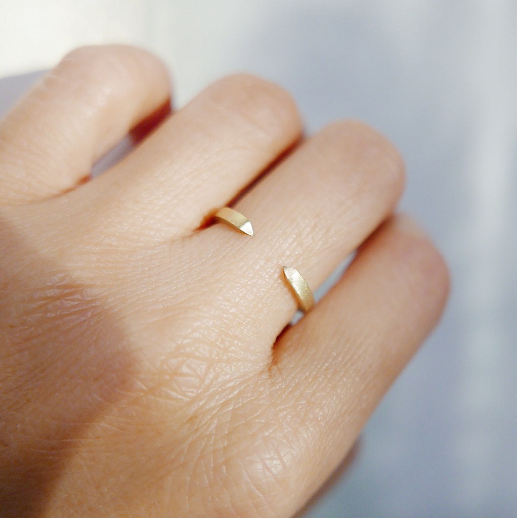 On Pointe Brushed Ring, gold cuff ring, stacking open ring, 14k gold cuff ring